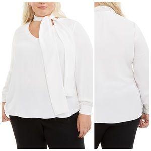 Bar III White Tie Neck Blouse Plus Size 2X